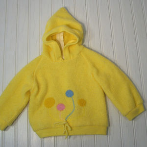 Vintage Baby Hooded Sweater 6 - 12 Month Yellow